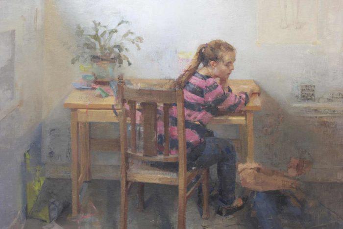 """Girl in striped shirt, oil on linen, 24 x 42"""""""