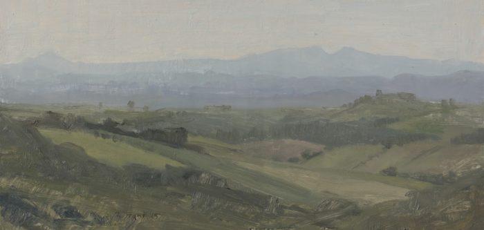 """valley, oil on panel 5.75 x 12"""" 2015"""
