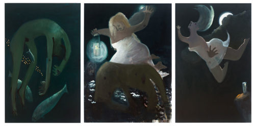 Hero and Leander (2014), oil on canvas (triptych), 68 x 154 in. overall